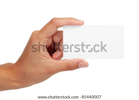 Empty business card in a woman's hand - stock photo
