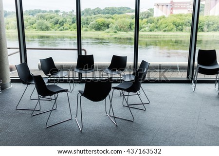 Empty business conference room interior. Round table meeting