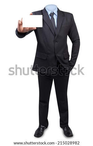 Empty business suit concept for invisible anonymous holding business card blank isolated on white background with clipping path - stock photo