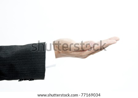 Empty businessman hand isolated on white - stock photo