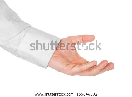 Empty businessman's hand, isolated on white - stock photo