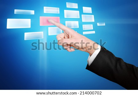Empty button pressed by hand - stock photo