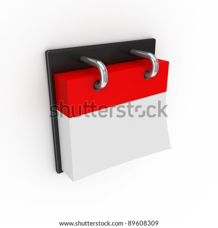 Empty calendar.Isolated on white background.3d rendered. - stock photo