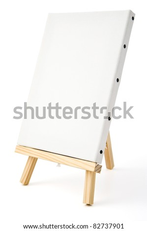 Empty canvas on easel - stock photo