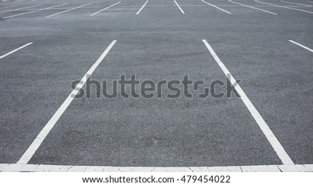 Empty Car parking lot with white mark.