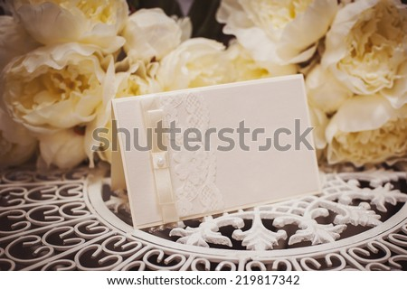 empty card to place text surrounded by flowers for your text - stock photo