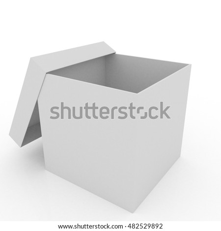 Empty cardboard box, gift box, surprise box or package - 3D render isolated white background
