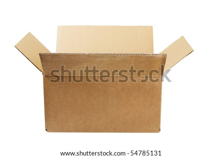 empty cardboard box isolated on the white background - stock photo