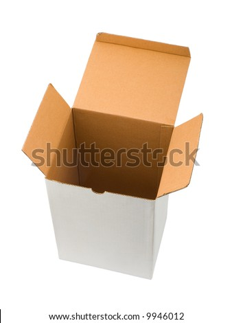 Empty cardboard box, isolated on white background