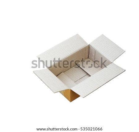 Empty cardboard box Isolated on white background with clipping path.