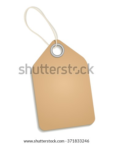 Empty cardboard tag on white