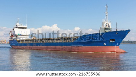 empty cargo ship after unloading - stock photo