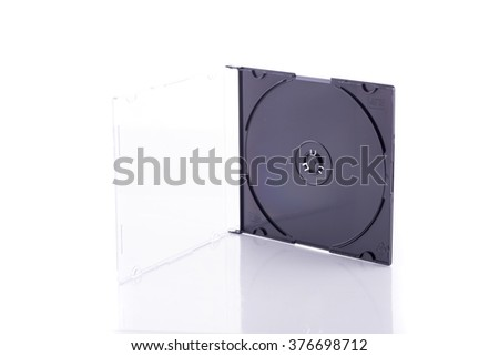 Empty cd cases stack on white - stock photo