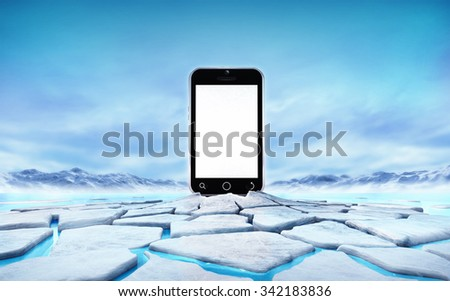 empty cell phone in the middle of ice floe cracked hole, seasonal winter landscape digital illustration - stock photo