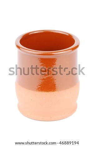 empty ceramic plant pot isolated on white background - stock photo