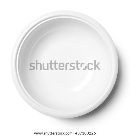 Empty ceramic round plate isolated on white - stock photo