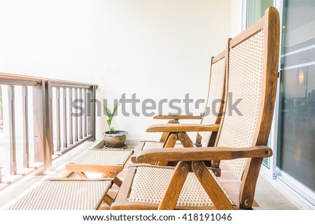 Empty chair in balcony and terrace decoration interior - Vintage light Filter - stock photo