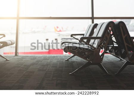Empty Chairs in a Waiting Room at Airport