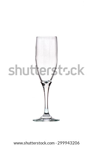 Empty champagne glass on white background - stock photo