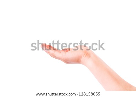 Empty child's hand, palm up isolated on white