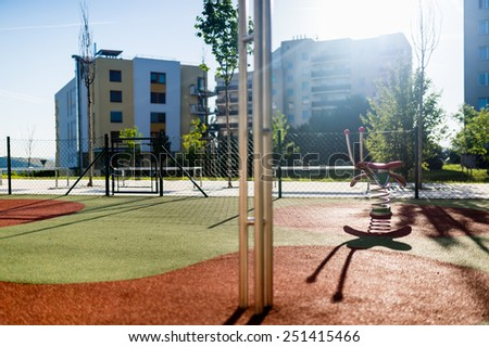 Empty children playground in the city
