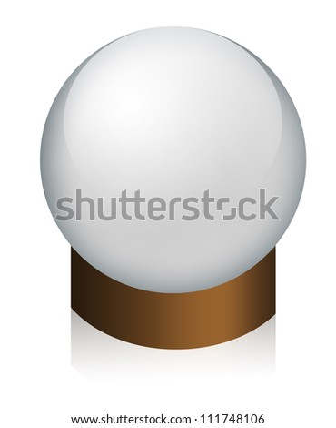 Empty Christmas Snow Globe Isolated On White Background.