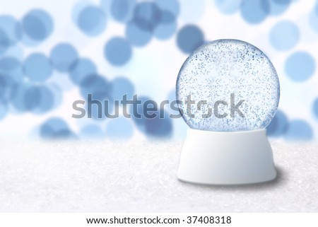 Empty Christmas Snow Globe With Blue Background. Insert Your Own Image or Text - stock photo
