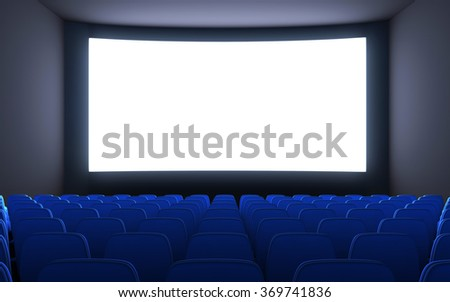 Empty cinema and white screen (done in 3d)