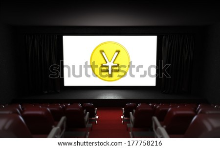 empty cinema auditorium with Yuan coin on the screen illustration - stock photo