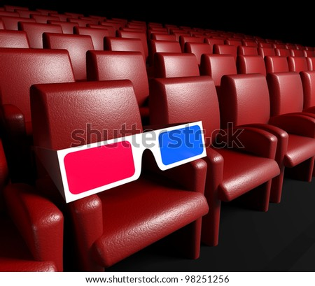 Empty cinema hall with auditorium and 3d glasses - stock photo