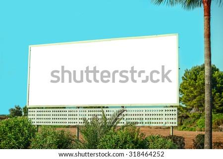 Empty city billboard - stock photo