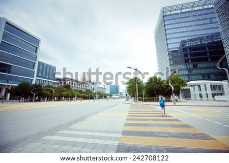Empty City Street in Hot Summer weather, Malaysia - stock photo