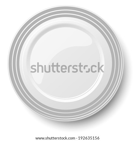 Empty classic white plate isolated on white background. View from above. Raster version illustration. - stock photo
