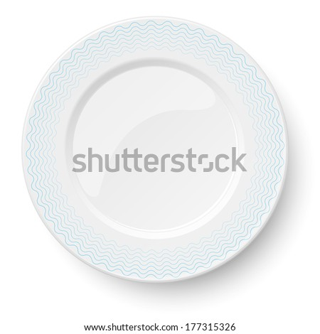 Empty classic white plate with wavy blue pattern isolated on white background. View from above. Raster version illustration. - stock photo