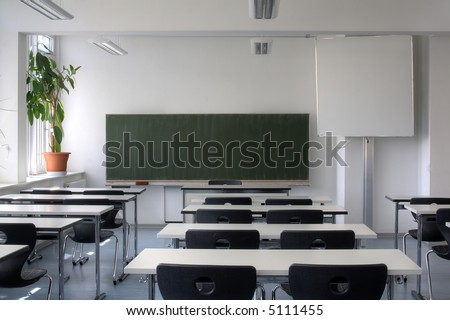 Empty Classroom from rear view. - stock photo
