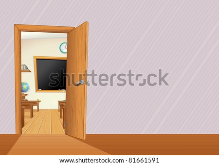 Empty Classroom with Wooden Furniture, Desks, Blackboard... illustration with copy space for your text or design - stock photo