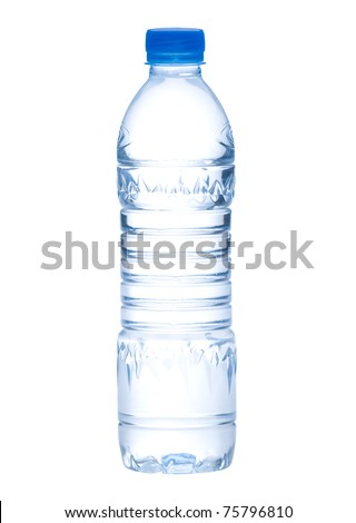 Empty clean and clear water bottle isolated on white - stock photo