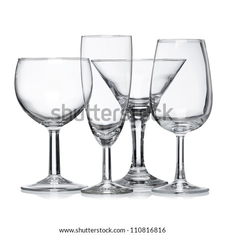 Empty clean glass isolated on white background