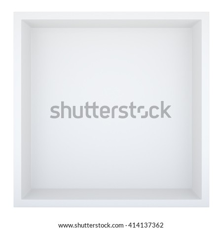 Empty clean isolated white bookshelf or box. Template for design. 3D rendering - stock photo