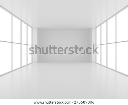 Empty clean room with large windows. 3d render - stock photo