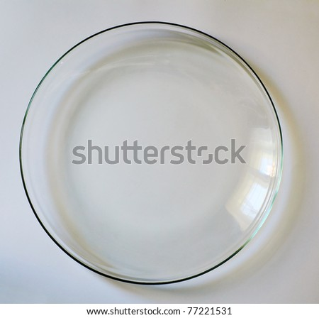 empty clear glass plate isolated in white - stock photo