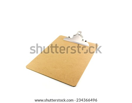 Empty clip board with metal clip - stock photo