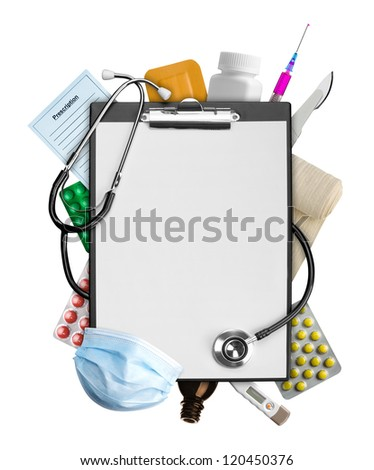 Empty clipboard with medical supplies - stock photo