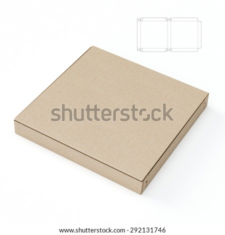 Empty Closed Pizza Box with Blueprint Die Line - stock photo
