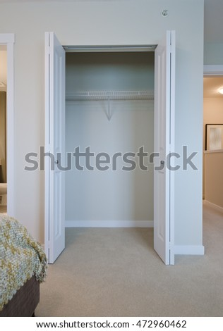 Empty Closet, Working Closet, Cupboard In Bedroom. Interior Design.