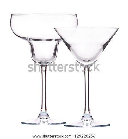 Empty cocktail glass on a white background - stock photo