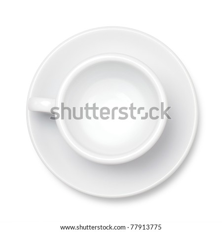 Empty coffee cup. Above view. Isolated on white background - stock photo