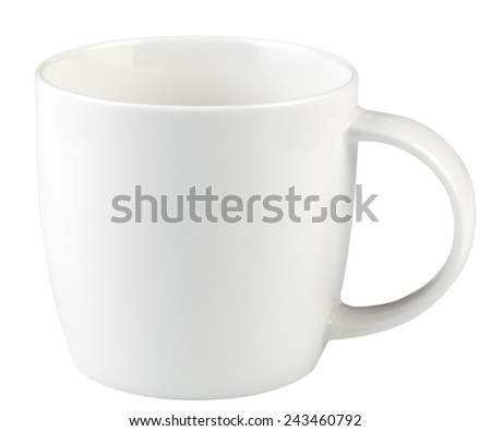 Empty coffee cup isolated on white background. - stock photo