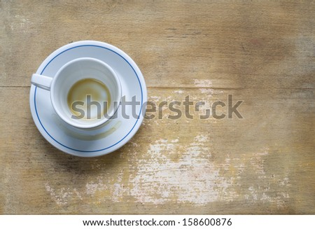 empty coffee cup on a vintage table, free copy space