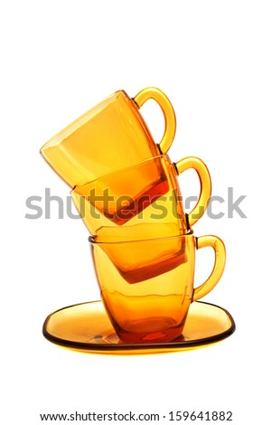 Empty Coffee cup set over white background.
